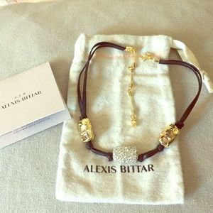 Alexis Bittar Leather, Metal and Stone Choker